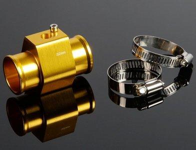 Adapter watertemp. sensor tussen waterslang 32 mm goud