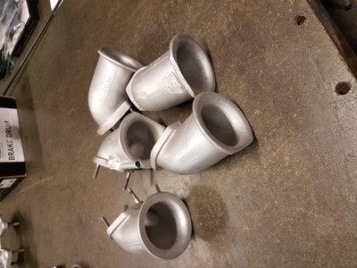 Set haakse kelken 45 mm Solex, Weber, Dellorto, 5 stuks